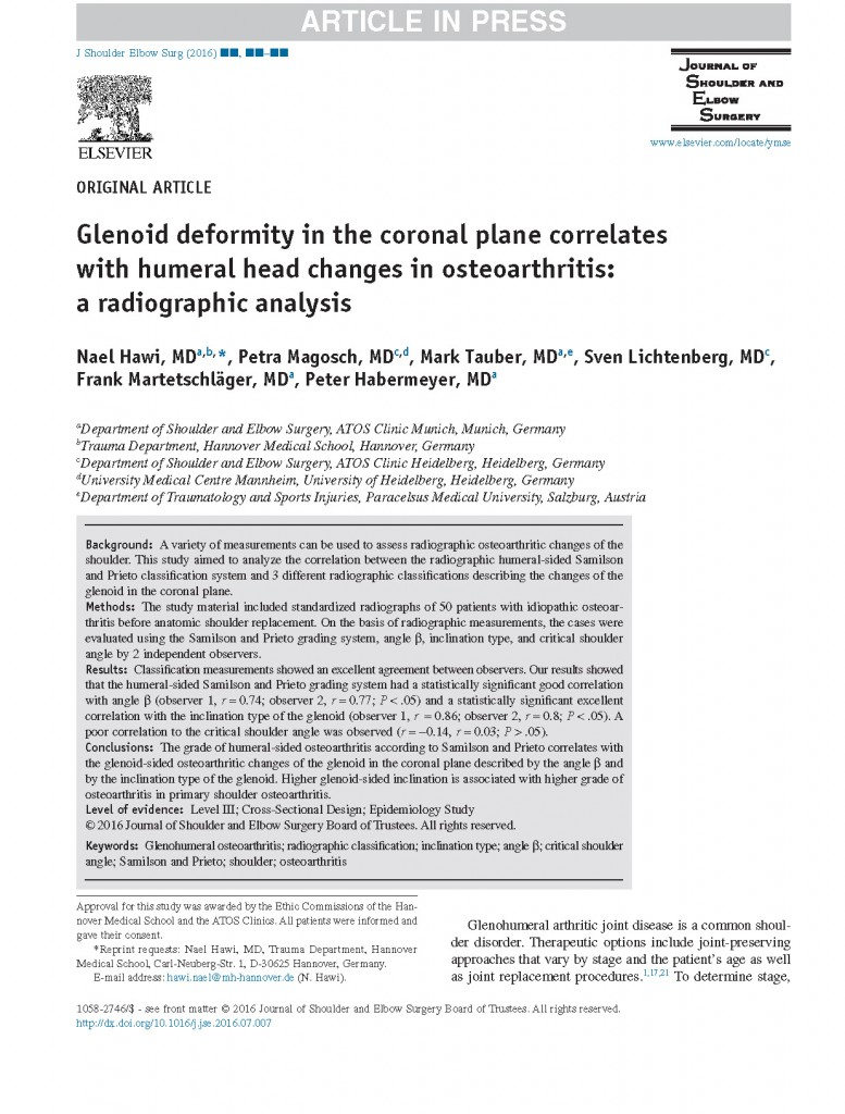 glenoid deformity in the coronal plane correlates with humeral head