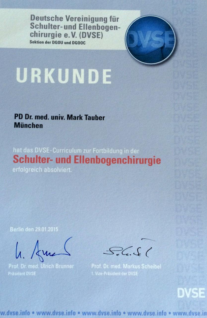 DVSE Urkunde für Dr. Mark Tauber