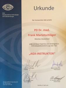 AGA-Urkunde PD Dr. Frank Martetschläger