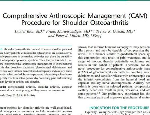 Arthroskopische Behandlung der Früharthrose der Schulter