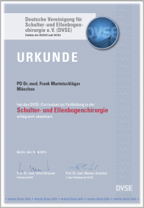 DVSE Urkunde PD Dr. Frank Martetschläger