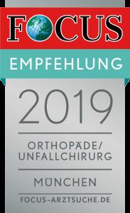 FOCUS 2019 Empfehlung Orthopäde Unfallchirurg München