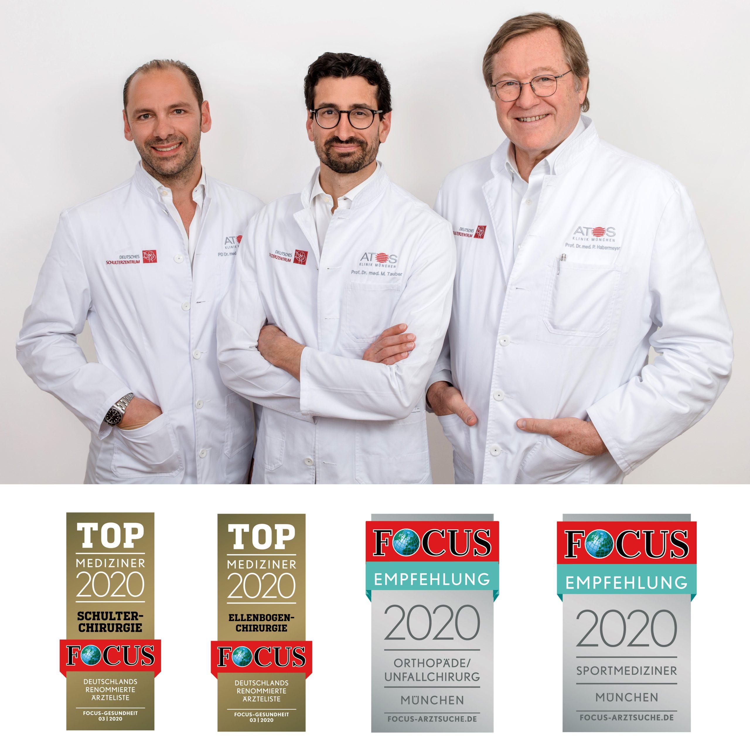 Focus Top-Mediziner 2020 - Prof. Dr. med. Peter Habermeyer, Prof. Dr. med. univ. Mark Tauber, Priv.-Doz. Dr. med. Frank Martetschläger