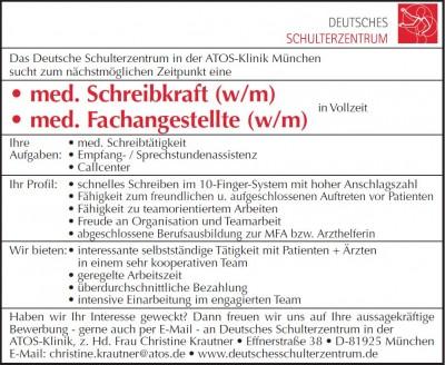 Stellenanzeigen archive deutsches schulterzentrum for Stellenanzeigen in munchen