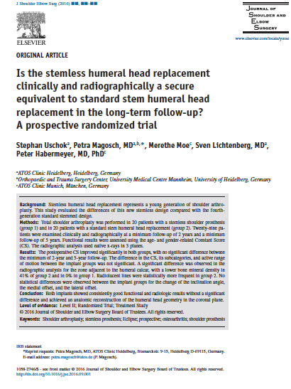 stemless humeral head replacement - secure equivalent to standard stem humeral head replacement