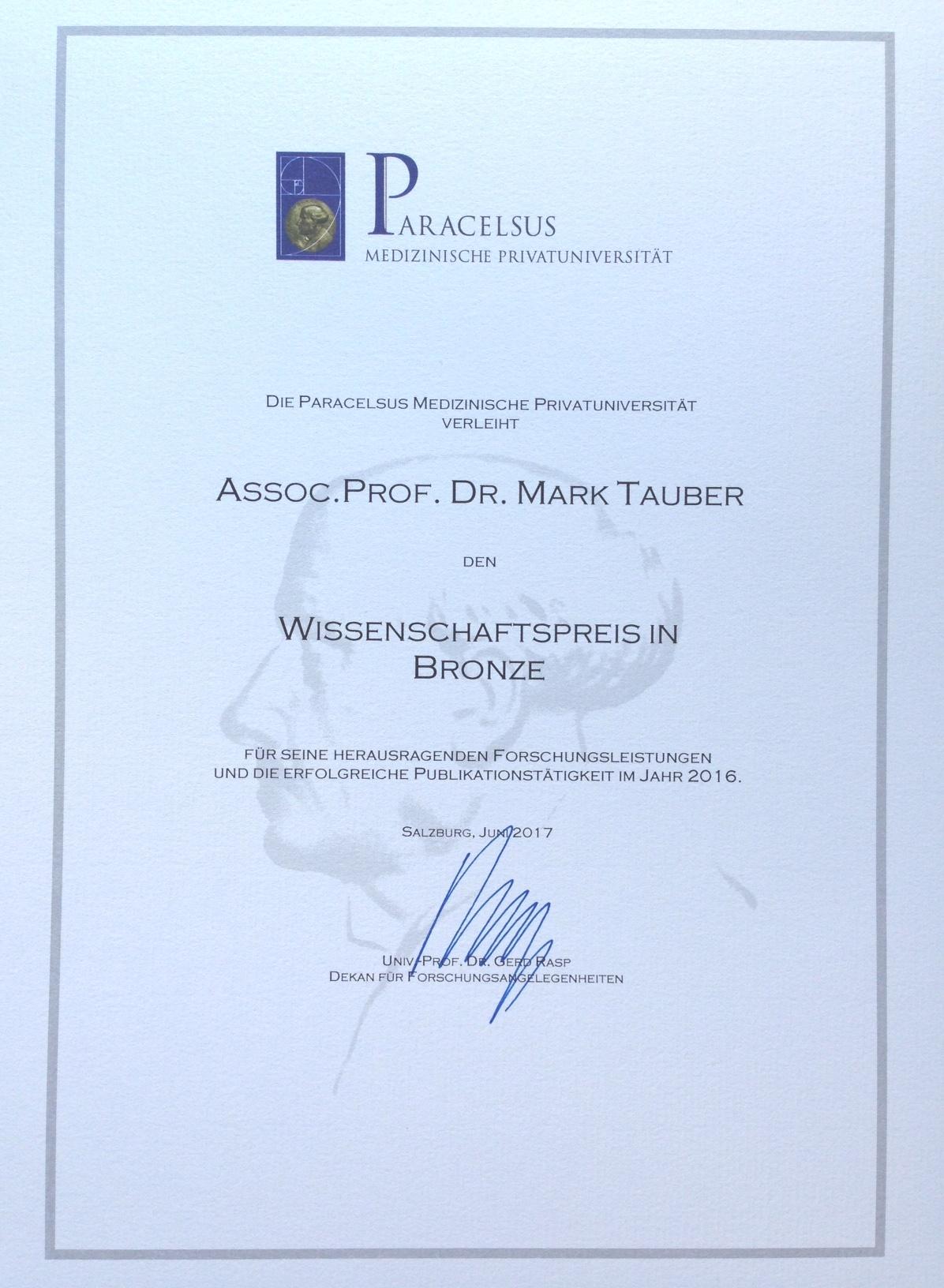 Wissenschaftspreis Prof. Tauber